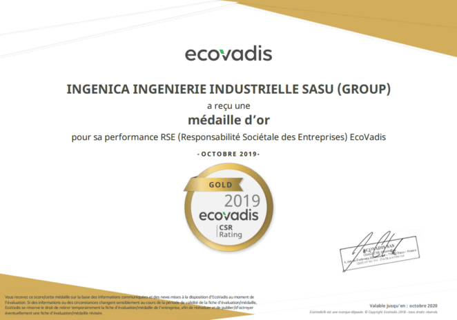 INGENICA obtient le label EcoVadis GOLD 2019 !